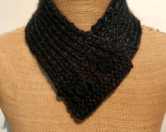 Hand Knitted Buttoned Neck Warmer in Loops & Threads Kaleidoscope Smoky Quartz Item# KNW311183
