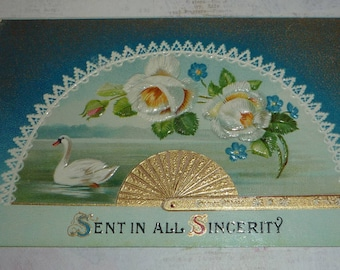 Pretty Fan Design With Swan and Flowers Antique Greeting Postcard