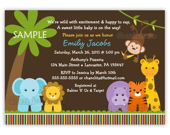 Jungle Safari Wild Animals Baby Shower Invitation (You Print)