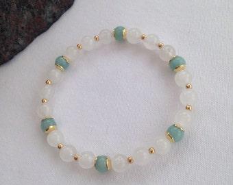 White Jade and Amazonite bracelet, natural white Jade bracelet, turquoise and gold, white and gold, gift for her, girlfriend, summer for her
