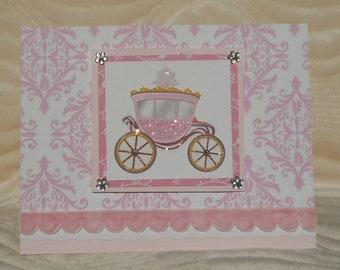 Handmade Princess Carriage Birthday Card
