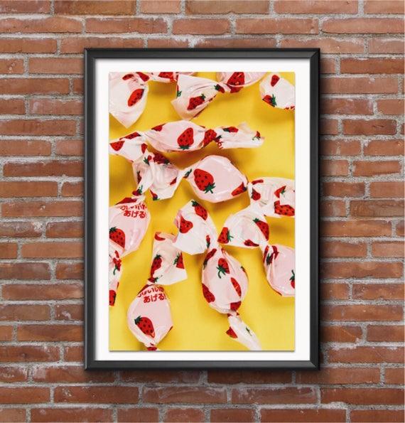 Yellow Ichigo Candy Wall Art Food Photography