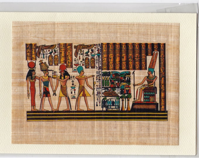 NEW! God and Goddess Egyptian Papyrus Card. Horus, Goddess of Love, Ramses and more are part of this beautiful design. Gift for women, men.