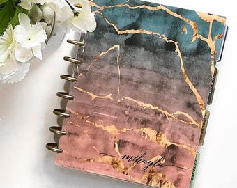 """CUSTOMIZABLE Happy Planner Cover Set """"Concreate Marble"""", 10 Mil Laminated"""