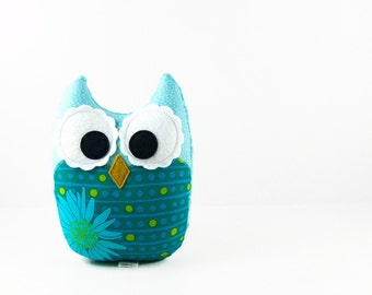 Teal Aqua Lime Plush Owl Stuffed Toy Nursery Decor