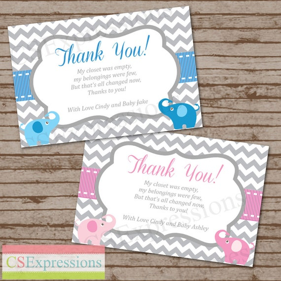 elephant baby shower thank you cards