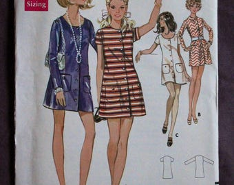 Misses 60s 70s Mod Button Down Scoop Neck Mini Dress Summer Dress Patch Pockets Vintage 1960s Butterick 5528 Sewing Pattern Size 14 Bust 36