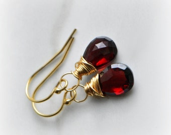 Garnet Earrings Gold Garnet Earrings, Genuine Garnet Dangle Earrings Gold, Real Garnet Earrings, Christmas Gift for Her, Gift by Blissaria