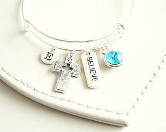 Believe bracelet, believe jewelry, inspirational, inspiration bracelet, cross bracelet, christian bracelet, religious jewelry,  catholic