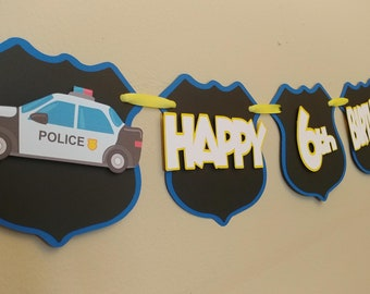 Police Officer Themed Happy Birthday Banner, Police Themed Birthday Party