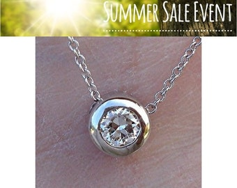 Big Bezel 1/4 Carat Diamond Solitaire Necklace - 14K White, Yellow or Rose Gold 0.25 TCW