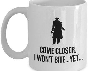 Funny Vampire Mug - Vampire Gift Idea - Vampirism Birthday Gift - I Won't Bite, Yet