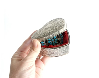 Silver Plated Jewelry Box, Heart Shaped Gift Box