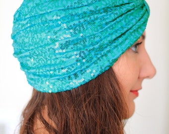 Mermaid Turban in Aquamarine by Mademoiselle Mermaid