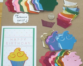 Cupcake  Die Cut pieces made from Rainbow color cardstock paper