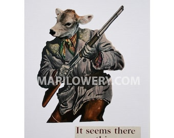 Cow Art, One of a Kind Paper Collage, 8.5 x 11 Inch Man Cave Wall Decor, Unusual Collage, Gray and Brown Gun Art, frighten