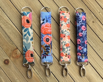 Rifle Paper Co Key Fob/ Keychain/ Wristlet Strap with swivel clasp hook- Choose your fabric