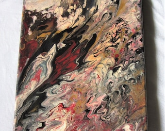 Lava Flow- 8 x 10 Canvas Acrylic Pour, Abstract Painting, Fluid Art