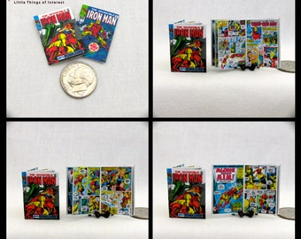 2 Miniature IRON MAN COMIC Books Dollhouse Readable 1:12 Scale *2 For 1* Marvel Avenger