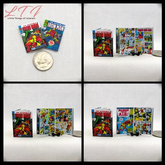 2 Miniature IRON MAN COMIC Books Dollhouse Readable 1:12 Scale *2 For 1* Marvel Avenger