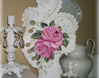 shabby chic wall dcor, shabby roses painting, pink roses decor, cottage decor, cottage roses, chic decor, vintage roses, flower wall decor