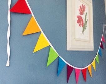 Rainbow bunting garland banner handmade from felt