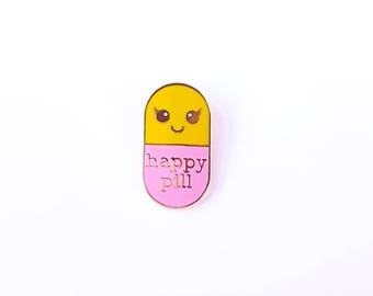 Happy pill YELLOW roze Kawaii pin   Student gift   Gift Nurse   Gift Pharmacist   Gift Doctor   Gift medstudent   pill pin badge