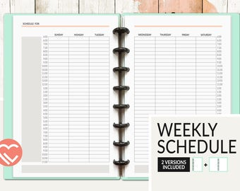 Weekly Schedule   2 Versions   3 Sizes   Digital Planner Page   Instant Download Printable PDF   Times, Notes, Week, Days