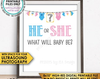 """Gender Reveal Sign, He or She What Will Baby Be Gender Reveal Party, Ultrasound Sign, Pink or Blue, Boy or Girl, PRINTABLE 8x10"""" Sign <ID>"""