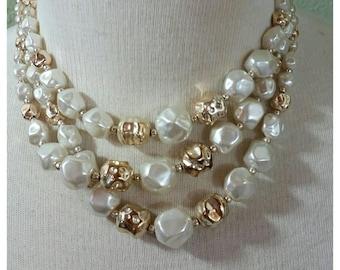 Vintage 50s, 60s, Multi Strand Necklace