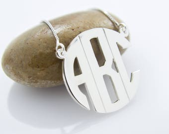 Personalized Initials Letter Monogram Necklace .925 Sterling Silver Pendant Fine Handmade Jewelry