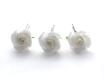 Set of 3 hair pins with white roses, rose hair pin, bridal hair pins, white roses, polymer clay flowers, floral jewelry