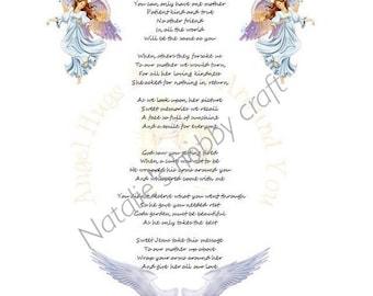 Memorial Poem, sympathy, bereavement, A mother love poem, funeral, remberance, keepsake, pdf, downloadable.