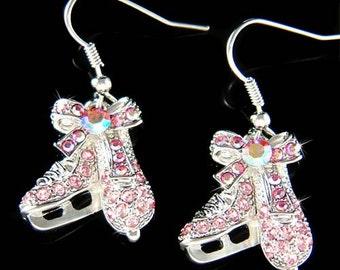 Swarovski Crystal Pink Ice figure Skating Hockey Mom Shoes Skate Pendant Earrings Girls Jewelry Christmas Gift New