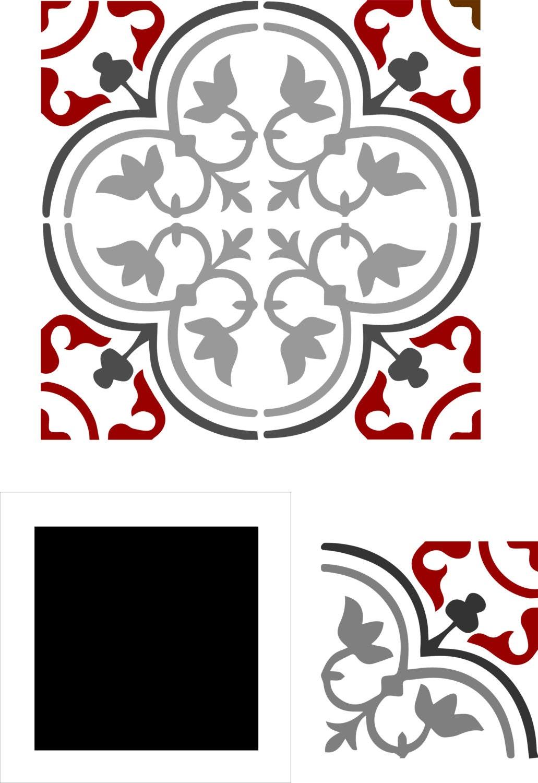 pochoirs carreaux de ciment imitation faence. Black Bedroom Furniture Sets. Home Design Ideas