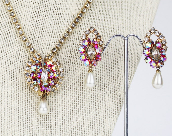 Fuchsia Rhinestone and Pearl Drop Necklace and Earrings Set - Vintage 1950s Wedding Demi Parure