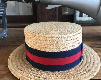 Vintage Straw Boater / Gondola Hat made in Italy