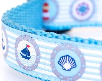 Nautical Stripes Dog Collar, Beach Theme Adjustable Ribbon Pet Collar, Aqua Sailboat Collar, Preppy, Ocean