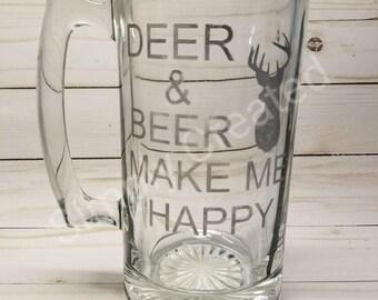 Deer & Beer Make Me Happy Etched Beer Mug