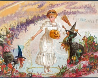 Witches, goblins dance, SCARE Pretty Lady on  Halloween, Instant Digital Download, Vintage Postcard