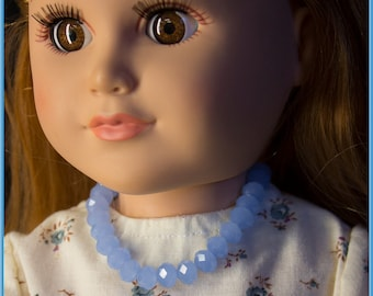 "Blue Glass Beaded Necklace, Jewelry, Accessories for American Girl Style 18"" Dolls! School or Dress Up Doll Clothes Fashion & Design Fun"