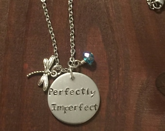 Perfectly Imperfect Necklace- Perfectly Imperfect Jewelry- Aluminum Jewelry- Hand Stamped Jewelry- Hand Stamped Necklace- Dragon Fly Jewelry