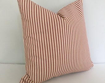 Red Ticking Stripe Throw Pillow Cover 18x18 knife edge