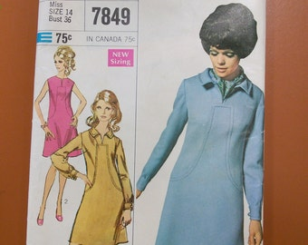 Simplicity 7849 Casual Dress A-Line Designer Vintage Sewing Pattern 1960s 60s Size 14