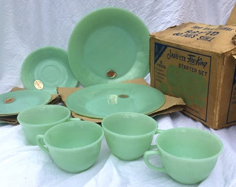Vintage Fire King Jadeite 12 Piece Starter Set With Box Labels FireKing Jadite +1 Jane Ray