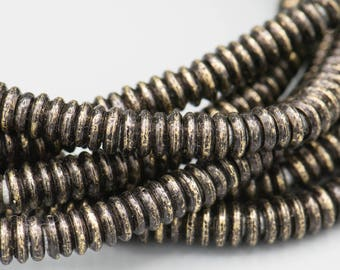 """Gunmetal Brass Heishi Rondelle 480 4mm Metal Spacer Beads with 2mm Hole on a 24"""" Strand SKU-MH1X4GM-134"""