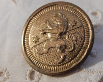 Rampant Lion with Two Stars - One Piece Brass Antique Button
