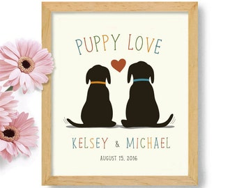 Puppy Love, Dogs in Wedding, Personalized Wedding Gift, Dog Decor, Gift for Couple, Loves Dogs, Labrador Retriever, Unique Engagement Gift