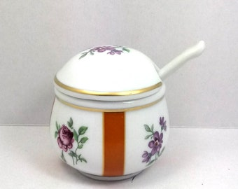 Sugar Bowl porcelain hand-decorated with spoon cm Ø 7