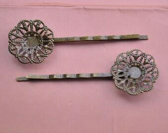 15pcs Bronze Flower Bobby Pins Hair Clips,metal clips craft.bronze flower clips supply.